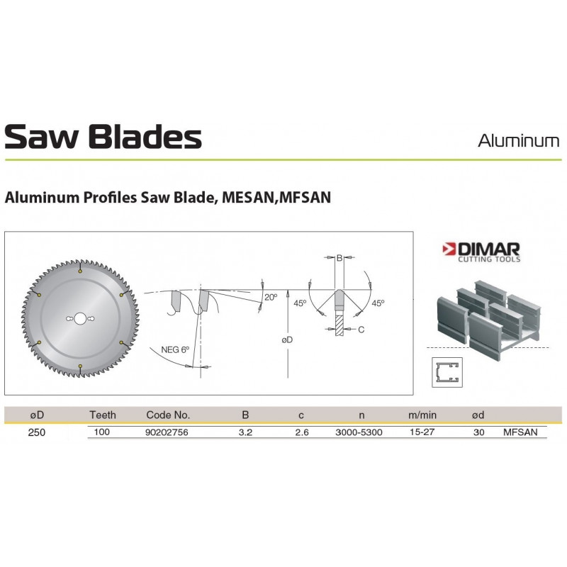 Sawblade 250 X 30 X 100 A,...