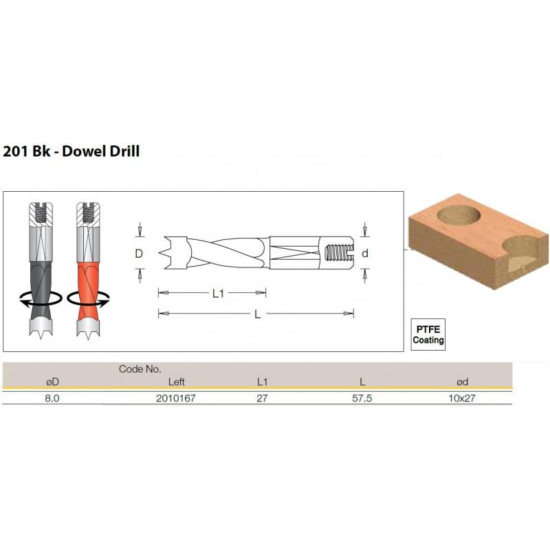 Dowel Drill, 8.0mm x 57.5 -...