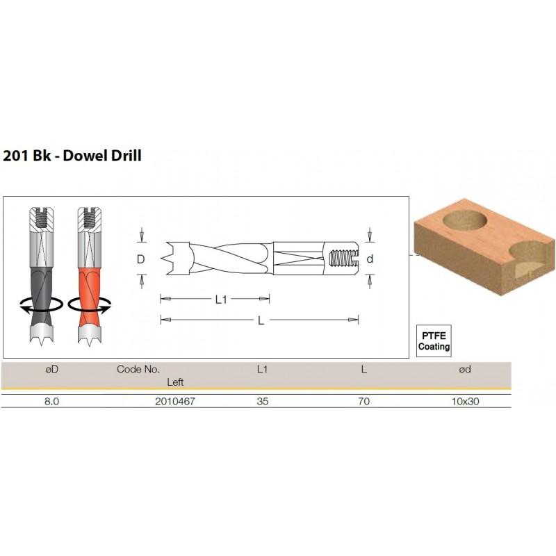Dowel Drill, 8.0mm x 70.0 -...